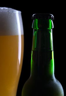 Glass Of Beer With Bottle Royalty Free Stock Images