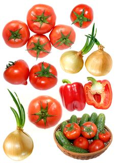 Fresh Vegetables Isolated On White Royalty Free Stock Photos