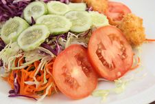Fried Shrimp Salad Stock Photo