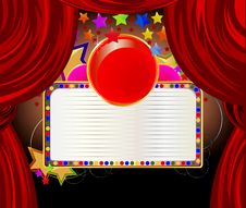 Free Beautiful Red Curtains And Stars Background Stock Images - 24749944