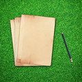 Free Pencil And Old Book On Green Grass Stock Images - 24757094