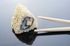 Free Sushi With Sesame And Chopsticks Royalty Free Stock Photo - 24752515