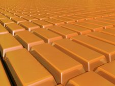 Free Plane Of Gold Bars Stretching To Horzion Stock Image - 24759731