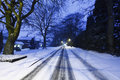 Free Highway Road Covered In Snow Stock Photography - 24769702