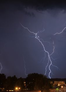 Lightning Over Housing Estate Royalty Free Stock Photo