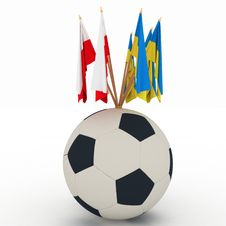 Flags Of Poland And Ukraine With Soccer Ball Stock Images