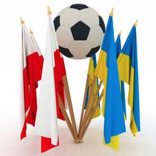 Flags Of Poland And Ukraine With Soccer Ball Royalty Free Stock Photos