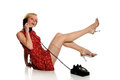 Free Pinup Woman Holding A Vintage Telephone Stock Photography - 24771202