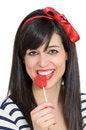 Free Retro Girl Biting Lollipop Stock Photos - 24778293