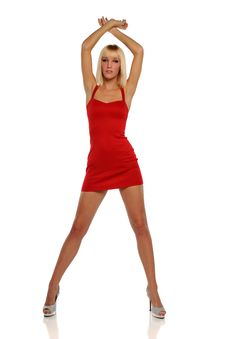 Free Young Blond Woman Wearing A Red Dress Royalty Free Stock Photos - 24770908