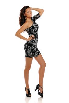 Free Young Brunette Wearing A Black Dress Royalty Free Stock Image - 24771276