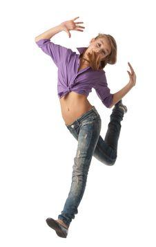 Free Beautiful Jumping Girl Royalty Free Stock Image - 24772686
