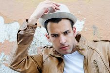 Free Young Handsome Man, With Hat In Urban Backgroun Stock Image - 24775591