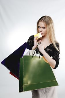 Free Beautiful Girl With Credit Card And Shopping Bags Royalty Free Stock Images - 24776629