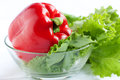 Free Whole Fresh Red Pepper And Lettuce Royalty Free Stock Photos - 24787558