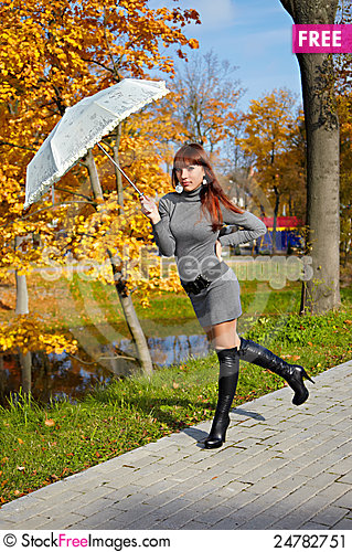 Free Girl In Autumn Park Stock Image - 24782751