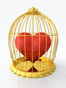 Free Heart In Golden Cage Stock Photography - 24782962