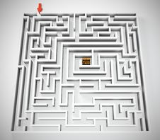 Free Maze With Treasure Royalty Free Stock Image - 24783246
