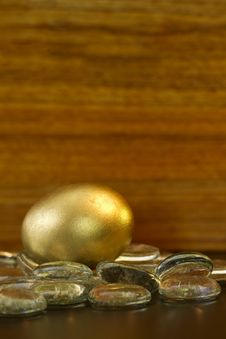Free Gold Nest Egg Glistens Stock Images - 24787954