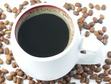 Free Coffee Cup And Coffee Beans Stock Images - 24790084