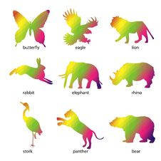 Free Colorful Abstract Animal Icons Stock Image - 24790401