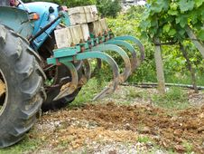 Tractor Plowing Close Up Stock Photography