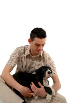 Free Young Man Looks At His Dog Royalty Free Stock Photography - 2480867