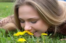 Free Pretty Girl Smells Dandelion Royalty Free Stock Photo - 2483085