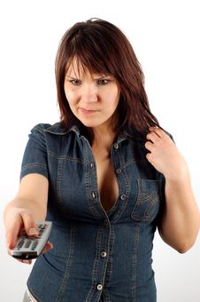 Free Woman Holding Remote Control Royalty Free Stock Photos - 2485518