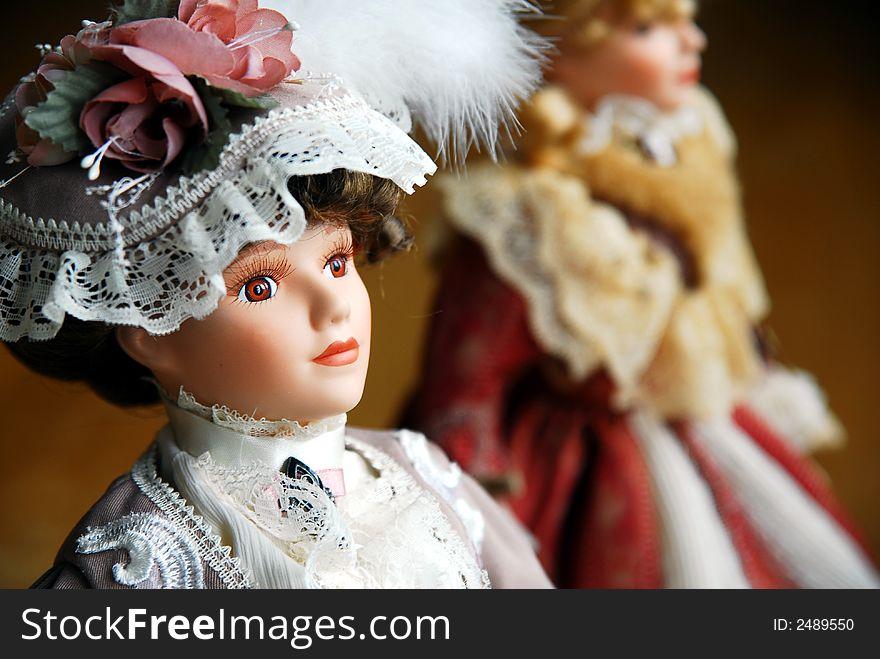 Two elegant lady dolls closeup
