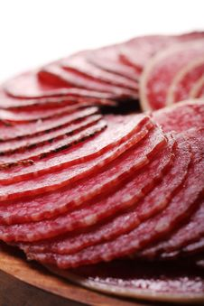Slices Of Fresh And Delicious Salami Stock Images