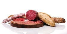 Salami And Bread Royalty Free Stock Images