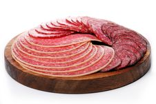 Slices Of Fresh And Delicious Salami Stock Photo