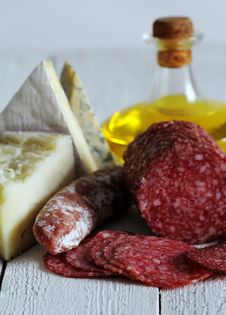 Free Salami And Cheese Stock Image - 24802931