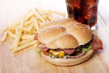 Free Big Burger And Chips Royalty Free Stock Images - 24802949