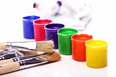 Cans With Colorful Paint Royalty Free Stock Images