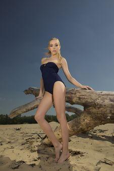 Free Beautiful Blonde Woman In Black Swimwear Stock Photos - 24803493