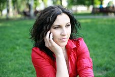 Free Portrait Of A Girl In A Red Shirt Royalty Free Stock Photos - 24804478