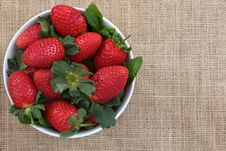Free Strawberries On Burlap Stock Image - 24805311