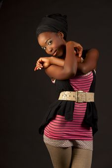 Free African Beauty In Fashionable Street Wear Stock Image - 24806731