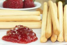 Free Bread Sticks With Jam Stock Images - 24815714