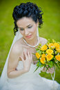 Free Portrait Of Beautiful Young Bride In Garden Stock Photography - 24829802