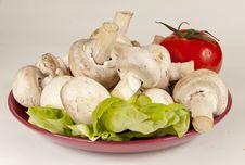 Free Fresh Mushrooms And A Tomato Stock Photo - 24820050