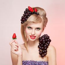 Free Woman With Strawberries And Bunch Of Grapes Royalty Free Stock Image - 24822986