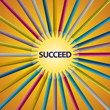 Free Full Color Pencil Accept Point SUCCEED Stock Photography - 24825272