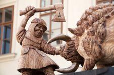 Prague Wood Figure Royalty Free Stock Images