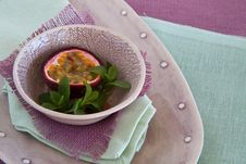 Free Bowl Of Granadilla On Colorful Linen Stock Image - 24832861