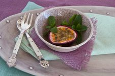 Free Granadilla With Mint And Spoon And Fork Stock Photos - 24832993