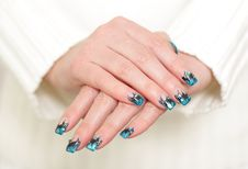 Free Female Hands With Blue Manicure Stock Images - 24834394