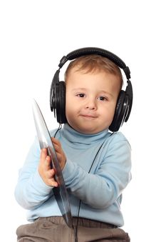 Free Portrait Of Lovely Child In Headphones Stock Image - 24834461